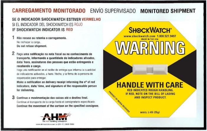 Dispositivo de Impacto Amarelo + Etiqueta AHM Solution